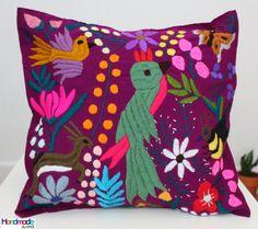 Cojín morado bordado mano cubierta / cubierta de la almohadilla / Mexican almohada textil / decorativos almohadas