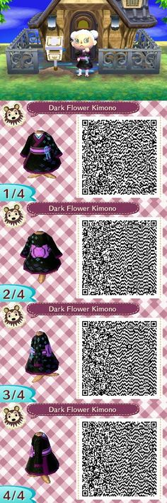 Dark Flower Print Kimono QR Code Animal Crossing New Leaf