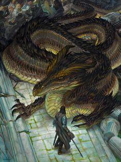 Sack of Nargothrond by DonatoArts.deviantart.com on @DeviantArt Tolkien, Dragon Medieval, Medieval Fantasy, Fantasy Dragon, Dragon Art, Fantasy Creatures, Mythical Creatures, Fantasy World, Fantasy Art