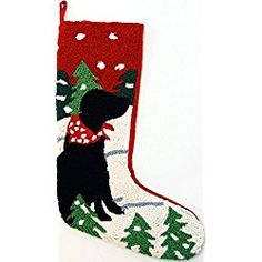 "Alpine Mountain Black Labrador Retriever Dog Hooked Wool Christmas Stocking- Large 21"" Size - Exclusive Design by For the Love of Dogs"