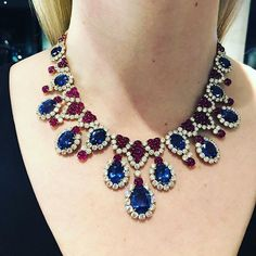 Absolutely gorgeous and iconic sapphire, ruby and diamond necklace. Coming up for sale NY on April Ruby And Diamond Necklace, Sapphire Necklace, Pretty Necklaces, Beautiful Necklaces, Choker Necklaces, Emerald Jewelry, Diamond Jewelry, Turquoise Jewellery, Jewellery Sketches