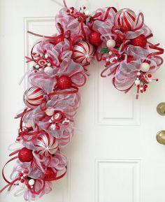Candy Cane Deco Mesh Wreath by ViennaSparkleWreaths on Etsy, $150.00