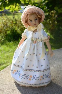 "SOLD ""Idyllic Moments""Regency dress,outfit,clothes for 13""Effner Little Darling-Lumi"