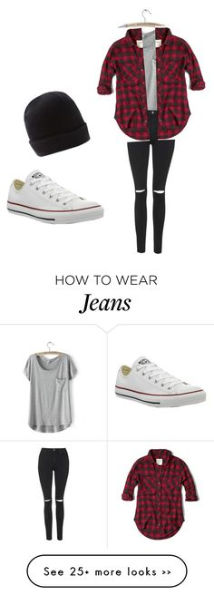 """Plaid shirt over grey with black skinny jeans with converse with black Beanie"" by brookehobbs on Polyvore"