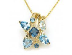 3.75 ctw Topaz & 0.03 ctw Diamond 14K Yellow Gold Pendant