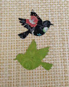 Paper Die Cut BirdsDoves Black Floral Print by thepapercove
