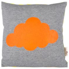 Cushion from Ferm Living. It features a soft jersey front with a hand-printed neon orange cloud and a striped canvas back.