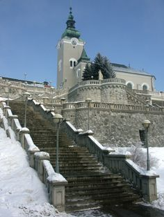 Slovakia, Ružomberok - Ružomberok stairs and St. Andrew's Church