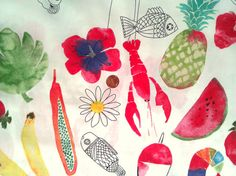 1 yard  Ikea harvest picnic food kitchen fabric 60 100 by JeAdore, $7.50