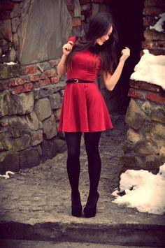 Mini with black stockings