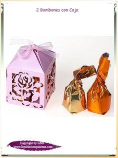 Deliciosos bombones, uno de chocolate negro y el otro de chocolate blanco rellenos de crema de turrón presentados en preciosas cajas en color rosa con lazo.      Un riquísimo detalle para tu evento ¡¡¡