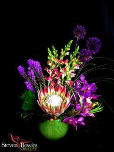 Purple Gold Watercolor Flowers Illustrations on Creative Market Tropical Floral Arrangements, Artificial Floral Arrangements, Modern Flower Arrangements, Tropical Flowers, Purple Flowers, Cut Flowers, Purple Gold, Tropical Centerpieces, Flower Centerpieces