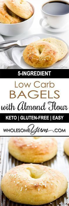 Low Carb Bagels with Almond Flour (Keto, Gluten-free) – These gluten-free, keto low carb bagels with almond flour need just 5 ingredients. They are easy, chewy, and delicious!