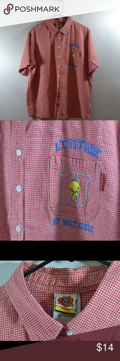 """Looney Tunes Tweety Bird Plaid Button Down 22/24 Looney Tunes Tweety Bird Plaid Button Down Size 22/24. 100%Cotton Made In Pakistan. Missing bottom button,please view photos. Measured in inches laid flat Chest:26.5"""",Length:28"""",Sleeve:10"""" Warner Brothers Tops Button Down Shirts"""