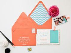 Oh So Beautiful Paper: Janine + Craig's Chevron Stripe Fabric Pocket Wedding Invitations