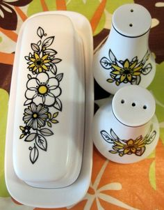 Noritake Tressa butter dish & salt and pepper!  Yes, please! $25