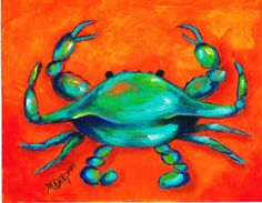 beautiful bright crab, kids would love this  #AdoraArt on Etsy