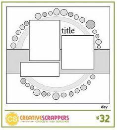 Creative Scrappers 032 - http://creativescrappers.blogspot.com  #Scrapbook Sketch