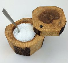 Rustic Wood Salt Cellar by AnnArborMade on Etsy