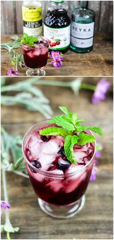 Combine the delicious flavors of mint and blueberry in this unique cherry vodka sour recipe! So easy to make and so refreshing.
