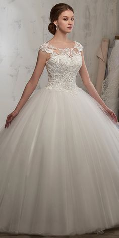 Attractive Tulle Scoop Neckline Ball Gown Wedding Dress With Beaded Lace Appliques - Bridal Gowns Country Wedding Dresses, Princess Wedding Dresses, Modest Wedding Dresses, Elegant Wedding Dress, Cheap Wedding Dress, Bridal Dresses, Gown Wedding, Romantic Princess, Elegant Gowns