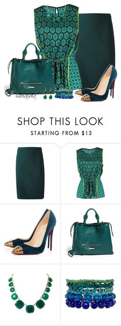 """""""Circle Print Top and Teal Skirt"""" by imclaudia-1 ❤ liked on Polyvore featuring Lanvin, Elie Tahari, Christian Louboutin, Burberry, Humble Chic, 2b bebe and toosis"""