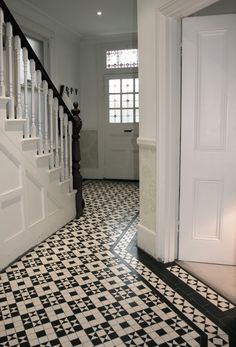 We built this Box and Star design mosaic hallway for a customer in Putney, London White Hallway, Tiled Hallway, Front Hallway, Edwardian Hallway, Edwardian Staircase, 1930s Hallway, Edwardian House, Interior Exterior, Home Interior Design