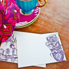 A free tea party invite/ notecard and envelope printable for you to download and use as an invite or card.
