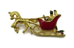 Vintage Red and Gold Christmas Brooch, Horse and Sleigh Pin, Xmas Holiday Figural Pin