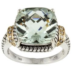 Meredith Leigh 14k Gold and Silver Green Amethyst and Diamond Accent Ring | Overstock.com - Great cocktail ring.