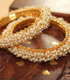 Buy GORGEOUS GOLDPLATED  PEARL FINISH BANGLES bangles-and-bracelet online