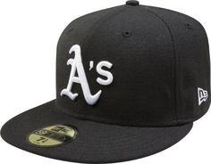 MLB Oakland Athletics Black with White 59FIFTY Fitted Cap by New Era. $27.58. Officially licensed by Major League Baseball. Embroidered Team logo in raised embroidery at front. 59FIFTY fitted cap in fashion color. 100% Wool. 59FIFTY is the official on-field cap of Major League Baseball and is worn by every Major League Baseball player. With this fashion version of the 59FIFTY you can show your team pride with style.