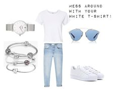 Mess around with your white T-shirt by maria-stratulat on Polyvore featuring polyvore, fashion, style, RE/DONE, MANGO, adidas Originals, Pandora, CLUSE, Christian Dior and clothing