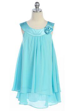 Aqua Satin bib necklin & chiffon A-line Flower Girl dress K255A $29.95 on www.GirlsDressLine.Com