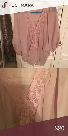 Sheer elegance blouse Nicolette rose pink sheer button down blouse with cinch tie waist Tops Blouses