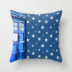 Police Box with Blue Starfield Throw Pillow