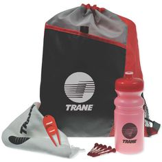 """Drawstring Sport Pack Golf Kit ...This essential golf kit is all you will need during your next golf outing to have the perfect day on the course! Our drawstring sport pack comes with a 20 oz. biodegradable tinted sports bottle, five 2 3/4"""" long golf tees, a golf towel and divot ball marker! You can choose from multiple color choices for the bag, bottle, divot tool and tees. Customize all items with an imprint of your brand name and logo - a great prize for golf tournaments!"""