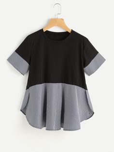 Shop Contrast Gingham Slit Side Curved Hem Tee online. SheIn offers Contrast Gingham Slit Side Curved Hem Tee & more to fit your fashionable needs.