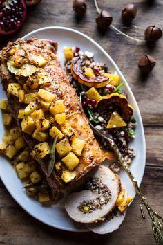 Pineapple Glazed Pork Roast with Bacon Wild Rice Stuffing