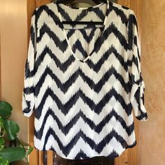 Sheer Chevron Blouse Navy blue & off-white sheer chevron top with 3/4 length sleeves. Tops Blouses