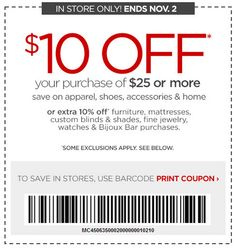 $10 off $25 purchase at JCPenney