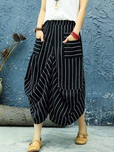 9a2aedaf Retro Striped Stitching Casual Drop Crotch Pants is necessary for cold  weather, NewChic will show cheap trendy women Pants & Capris for you.