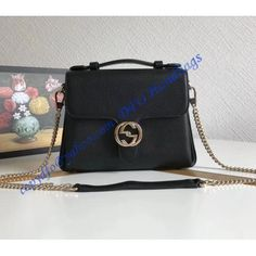 2aae6a375f3 Gucci Interlocking G Buckle Convertible Chain Black Leather Cross Body Bag  – LuxTime DFO Handbags