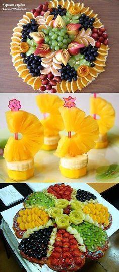 Fresh Fruit Food Art recipe for orange dome?Love my fruit❤️ Fruits Decoration, Deco Fruit, Fruit Creations, Creative Food Art, Food Carving, Food Garnishes, Garnishing, Party Trays, Fruit Recipes