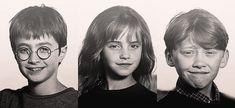 Avant / après (Harry Potter / Daniel Radcliffe ; Hermione Granger / Emma Watson ; Ron(ald) Weasley / Rupert Grint)