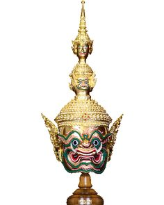 Ravana or known as Tossakan for Thai people, the king of Lanka mask made of real gold plate with very delicate craftmanship by the way of Thai traditional style artwork.