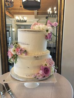 Perfectly framed semi naked cake with flowers for a dear friend's wedding :) #baking #cooking #food #recipes #cake #desserts #win #cookies #recipe #cakes #cupcakes