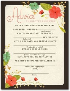 """This baby shower game is the perfect gift for the new mom and a great keepsake for the baby! This design matches our popular design """"Sweet Botanicals!"""""""