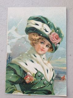 Vintage Lithograph Print Victorian Lady w Hat Roses Shabby for FRAMING | eBay