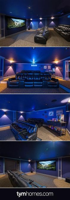 This Home Cinema was installed in a basement - under the garage. It features an anamorphic, acoustically transparent widescreen, Wolf Cinema projector, 7.1 surround sound system with Anthem A/V receiver and Paradigm speakers. A Savant SmartView video tiling system plays up to 9 video sources at the same time in variable configurations. The cinema is controlled by Savant. Learn more at TYMhomes.com. #HomeCinema #HomeTheater #MediaRoom #homecinemaintallation #homecinemaprojector